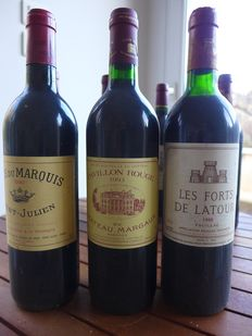 Blandad lott - 1990 Les Forts de Latour, 1993 Pavillon Rouge and 1990 Clos du Marquis - Pauillac, Saint-Julien 2nd wines of Ch. Latour, Ch. Margaux and Ch. Léoville Las Cases - 3 Flaskor (0,75L)