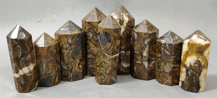 Multi-Color Jasper  Pointed Towers - 80×29×28 mm - 1035 g - (9)