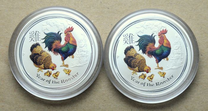 Australia - 50 Cents 2017 Year of the Rooster, colored - 2 x 1/2 Oz - Silver