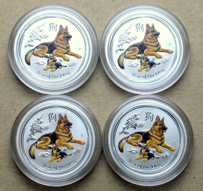 Australia - 25 Cents 2018 Year of the Dog, colored - 4 x 1/4 Oz - Silver