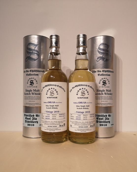 Caol Ila 2010 9 years old The Un-Chillfiltered Collection Cask 316323+316327 - Signatory Vintage - b. 2019 - 70cl - 2 bottles