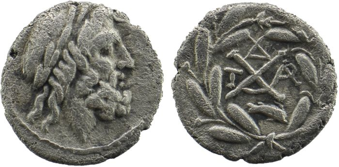 Greece (ancient) - Achaia, Achaian League. Dyme. AR Hemidrachm, ca. 86 BC - Silver