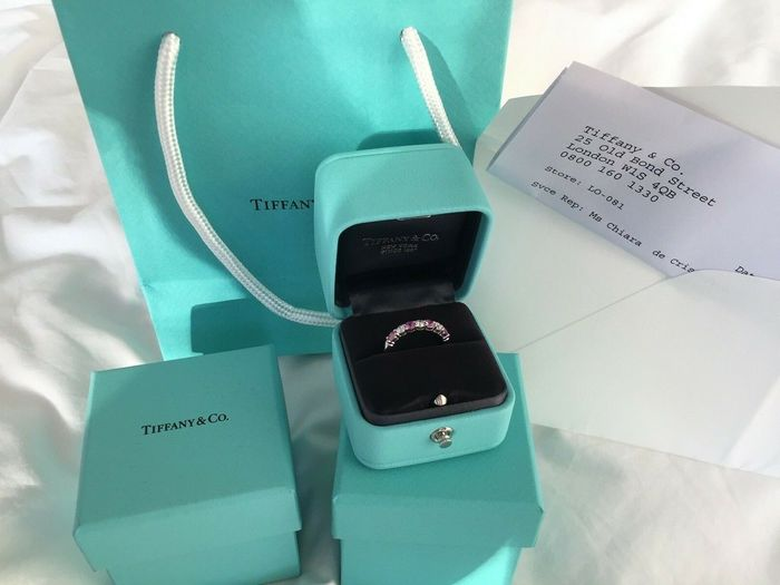 Tiffany & Co.  - 950  Platina - Ring - 0.24 ct Diamant - Saffier
