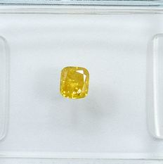 Diamond - 0.21 ct - poduszkowy - Natural Fancy Intense Orangy Yellow - I2 - NO RESERVE PRICE