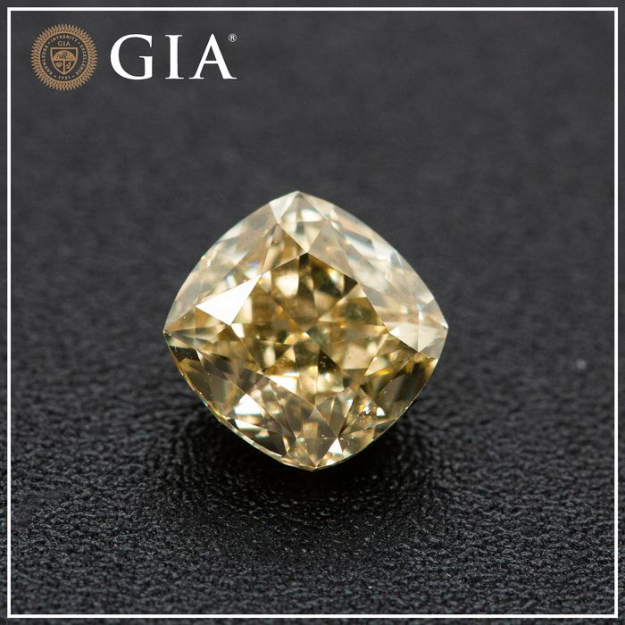 Diamond - 1.15 ct - Cushion - fancy brownish yellow - VS1