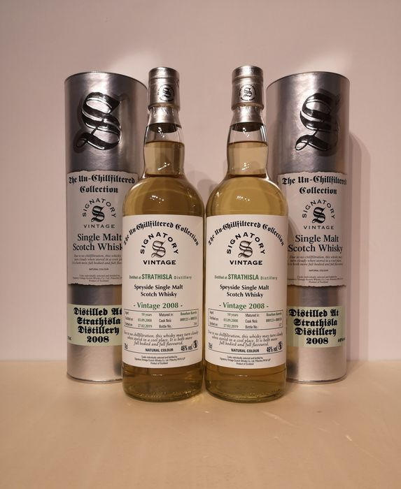 Strathisla 2008 10 years old The Un-Chillfiltered Collection - Signatory Vintage - b. 2019 - 70cl - 2 bottles
