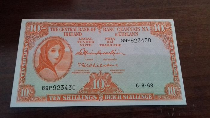 Ireland - 10 shillings 1968 - Pick 63a - Lady Lavery