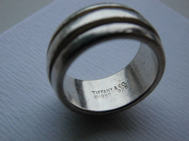 "Tiffany & Co. ""2 line 1995"" Wide Ring - 925 Prata - Anel"