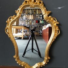 Venetian crested mirror - Baroque - Glass, Goldplate, Wood