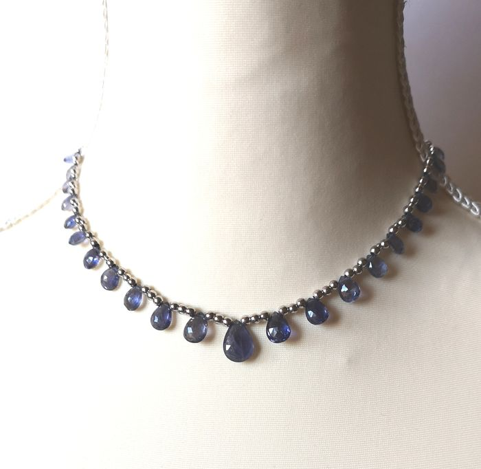 18 kt. White gold - Necklace - 41.00 ct Blue kyanite