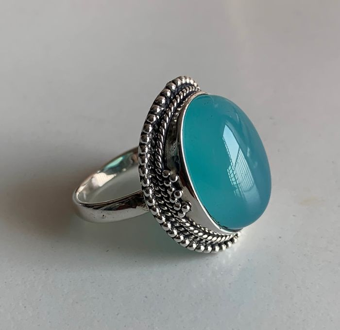 Ring - Chalcedony, Sterling silver 925 - Nepal - Second half 20th century