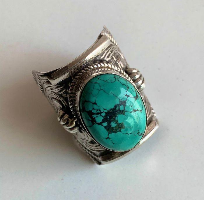 Ring - Sterling silver 925, Turquoise - Nepal - Second half 20th century