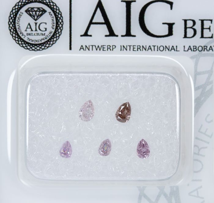 5 pcs Diamantes - 0.30 ct - Natural Fancy INTENSE Rosa - SI1 - I2 *NO RESERVE*