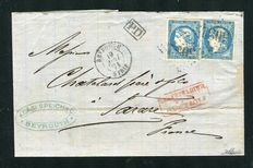 Frankrike 1871 - Rare letter from the French office in Beirut with two No. 44A stamps