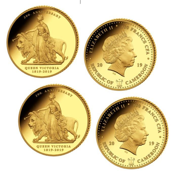 Camarões - 100 Francs 2019 200th Anniversary Queen Victoria 2 x 0.5 gr - Ouro