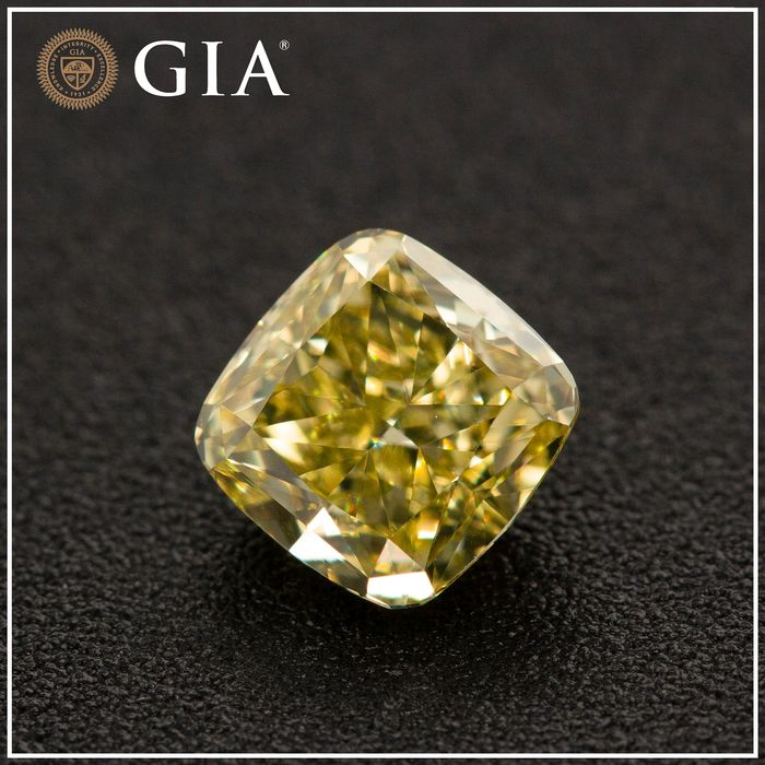 Diamante - 1.04 ct - Cojín - fancy intens greenish yellow - VS1