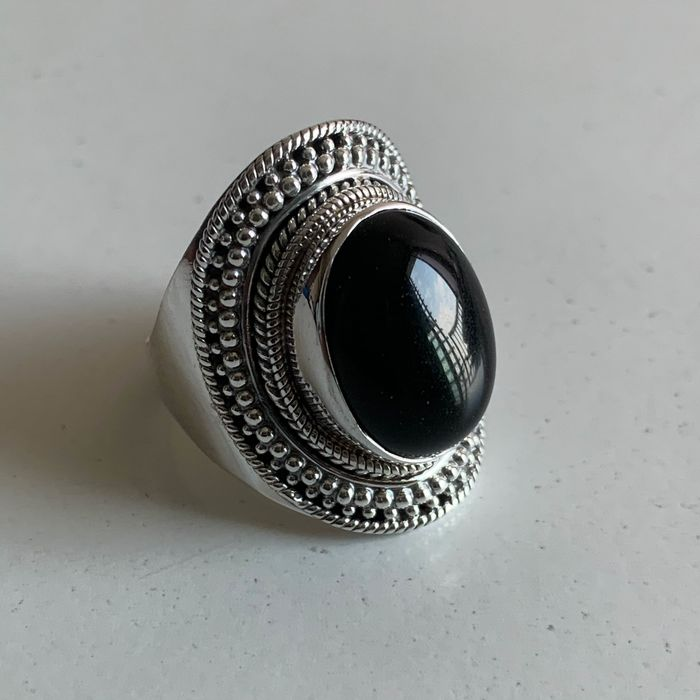 Ring - Onyx, Sterling silver 925 - Nepal - Second half 20th century
