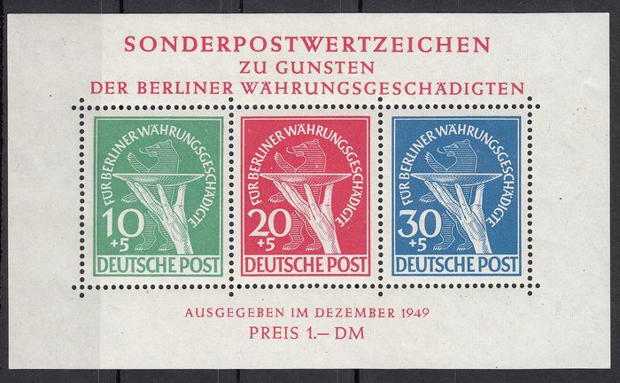 Berlin (West) 1949 - Souvenir sheet no. 1 new with gum MNH *.* - Michel Block 1