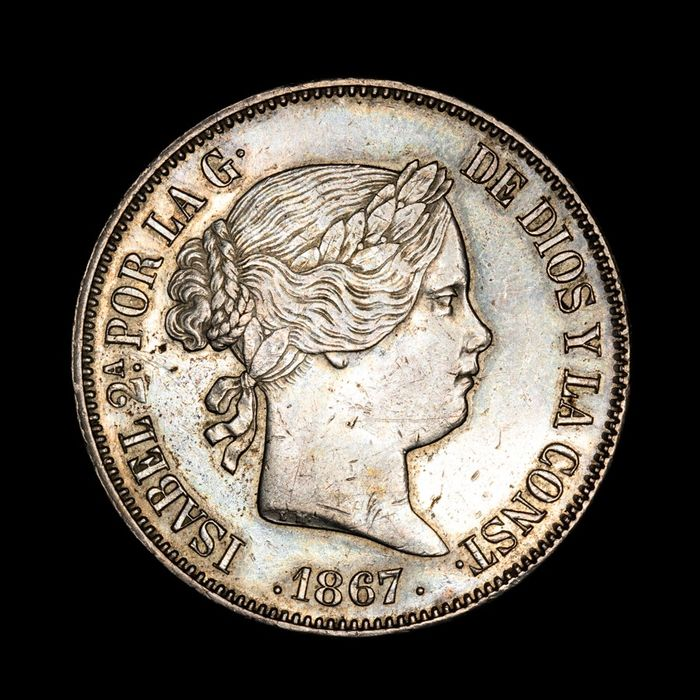 Spain - 2 Escudos - Isabel II (1833-1868) 1867- Madrid. - Silver