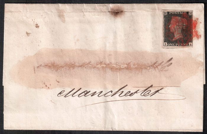 Gran Bretaña 1840 - penny black with red Maltese Cross on cover - Stanley Gibbons 2, plate 2