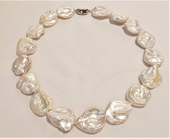 No reserve price - 925 Silver - 18x22mm Cultured Pearls - Necklace