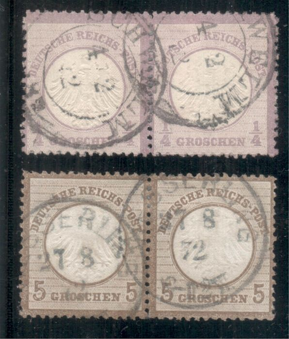 "German Empire 1872 - ""Small Breast Shield"" 1/4 gr and 5 gr, each as a pair - Michel 1, 6"