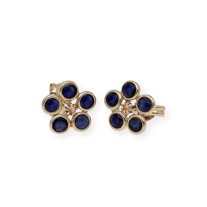 18 kt. Yellow gold - Earrings - 3.00 ct Sapphire - Diamond