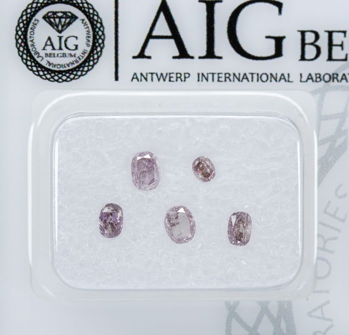 5 pcs Diamants - 0.52 ct - Naturel Rose Orangé Fantaisie - I2 *NO RESERVE*