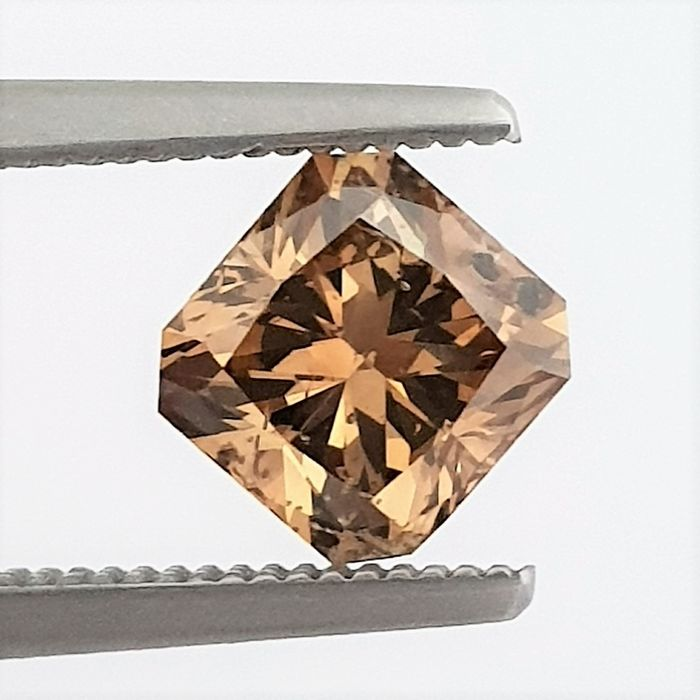 Diamant - 1.51 ct - Radiant - Natural Fancy Cognac - SI1