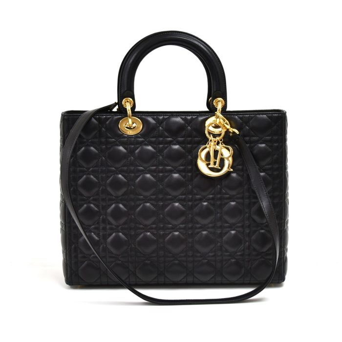 Christian Dior - Lady Dior Large Black Quilted Cannage Leather  Bolso de bandolera