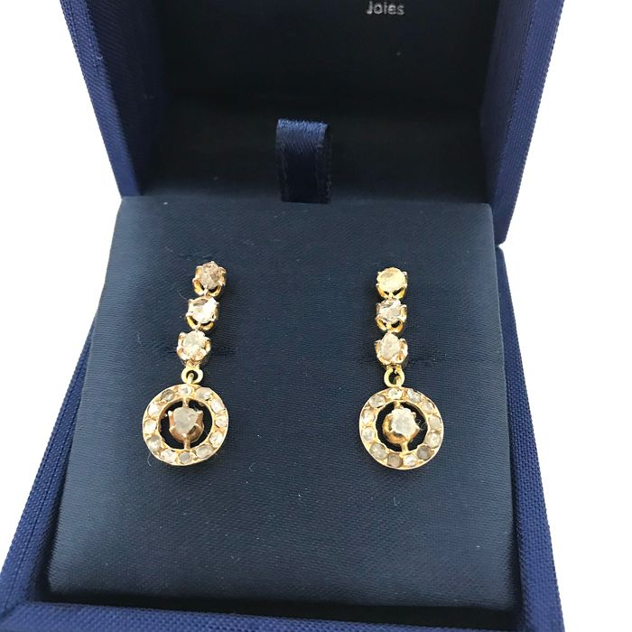 14 quilates Oro amarillo - Pendientes - 0.32 ct Diamante