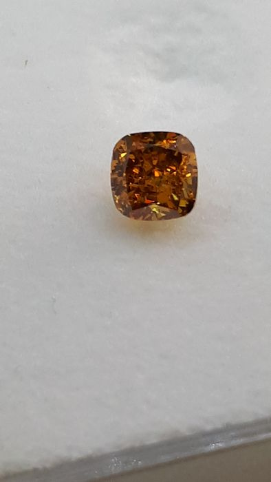 1 pcs Diamante - 0.30 ct - Almofada - fancy deep yellow orange - Não mencionado no certificado