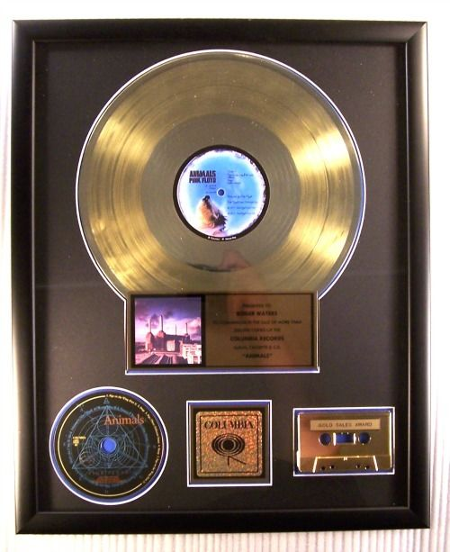 "Pink Floyd - ""Animals"" LP, Cassette & CD Gold Record Award Presented To Roger Waters - Prémio oficial In-House - 1977/1995"