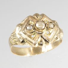 18 kt. Yellow gold - Ring, Antique Victorian, Anno 1870 - Pearl - Free resizing!* NO RESERVE PRICE