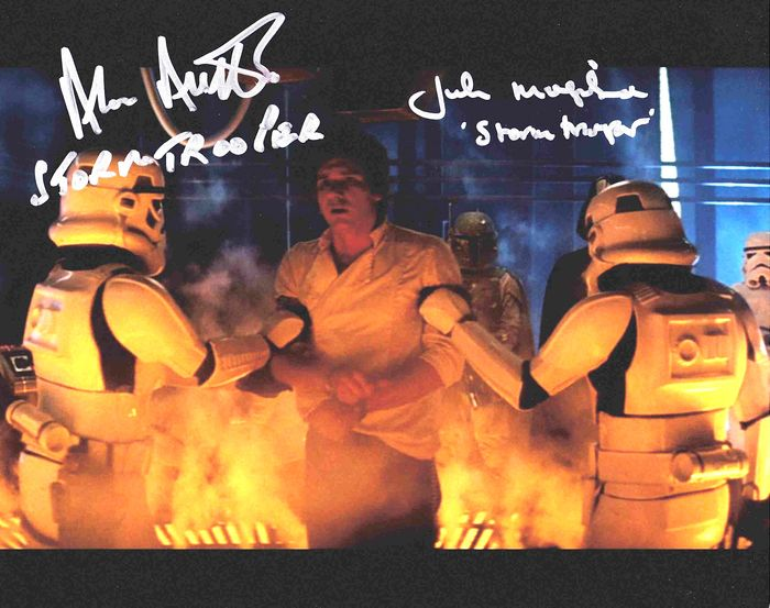 Star Wars - Double Signed by Alan Austen and John Mogridge - (Carbon Chamber Stormtroopers) - Autografo, Foto, with COA