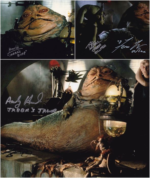 Star Wars - Lot of 4 - Jabba's Palace Trio - Andy Herd, Howie Hammermann, John Coppinger and Femi Taylor - Autografo, Foto, 3 photos, signed by 4 - with COA