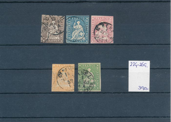 Schweiz 1854/1907 - Selection on 11 small stock cards