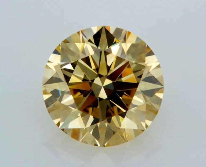 1 pcs Diamant - 3.30 ct - Rond - Jaune marron fantaisie - VS2
