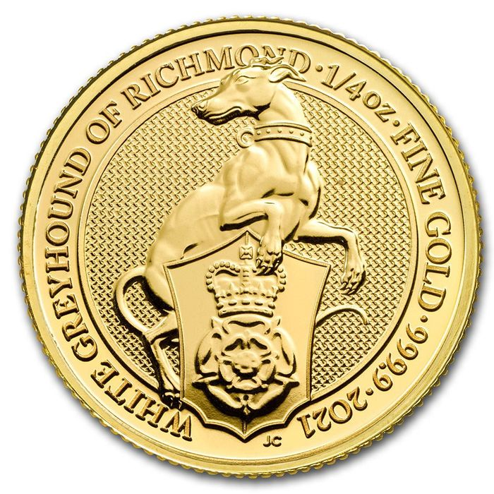 United Kingdom. 25 Pounds 2021 Queens Beasts The White Greyhound of Richmond - 1/4 oz