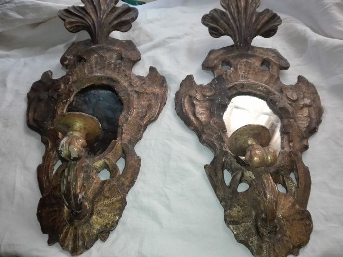 Wall sconce (2) - Rococo - Hout - 18e eeuw