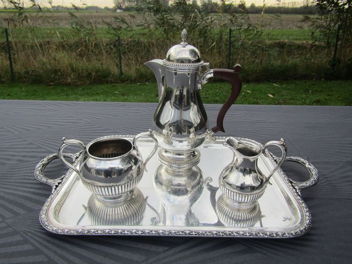 Mappin & Webb + Joseph Rodgers & sons - Coffee or tea set on saucer (4) - Silverplate