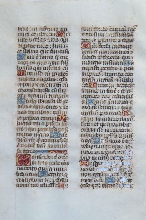 Manuscript - Original page from a book of hours - 1490