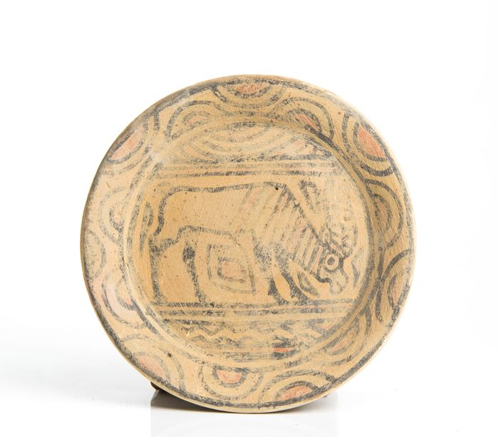 Indus Valley Pottery Dish Decorated with Antelope - 12.5×12.5×1.4 cm