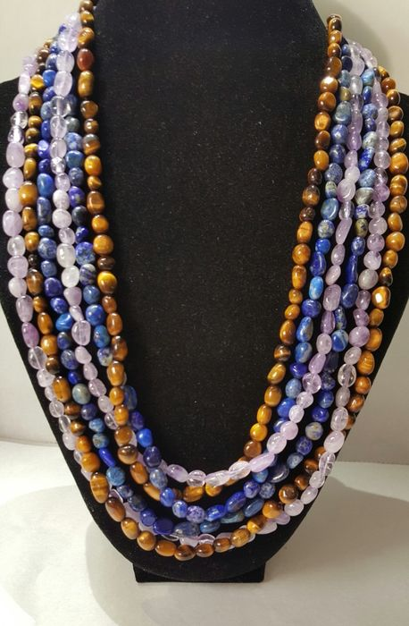Amethyst, Tiger's eye, lapis lazuli 3 long necklaces with 925 silver brooches - 1×1×360 cm - 135 g - (3)