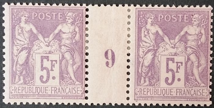 Frankreich - Sage type II, N under U, 5 francs purple on lilac, dated pair 9 - Yvert 95