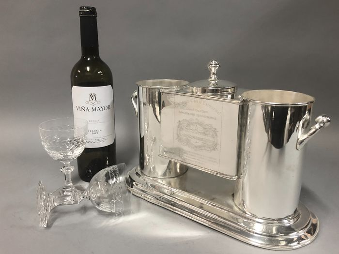 Wine cooler or Champagne cooler for two bottles - Silverplate