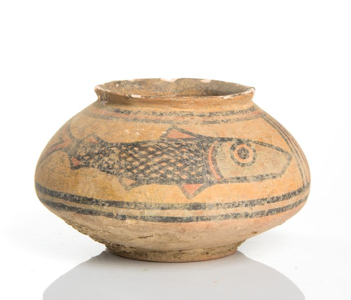 Indus Valley Pottery Jar Decorated with Fish - 6×9.7×9.7 cm