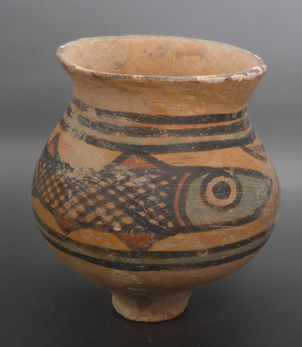 Indus Valley Terracotta decorated fish pot - 3×65×75 mm
