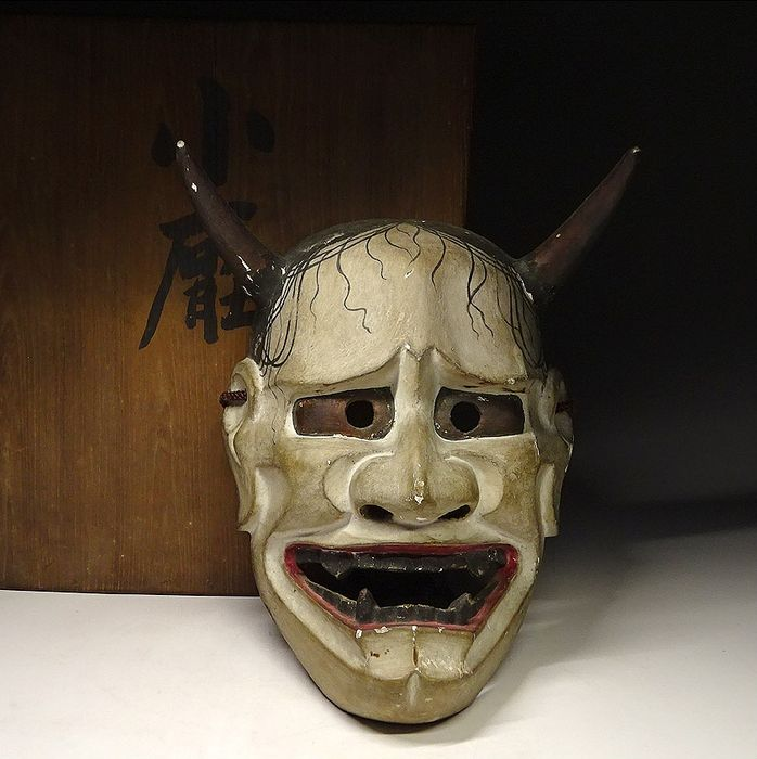 Noh mask (1) - Wood - Very fine Hannya mask - including original tomobako - Japan - late 19th / early 20th century