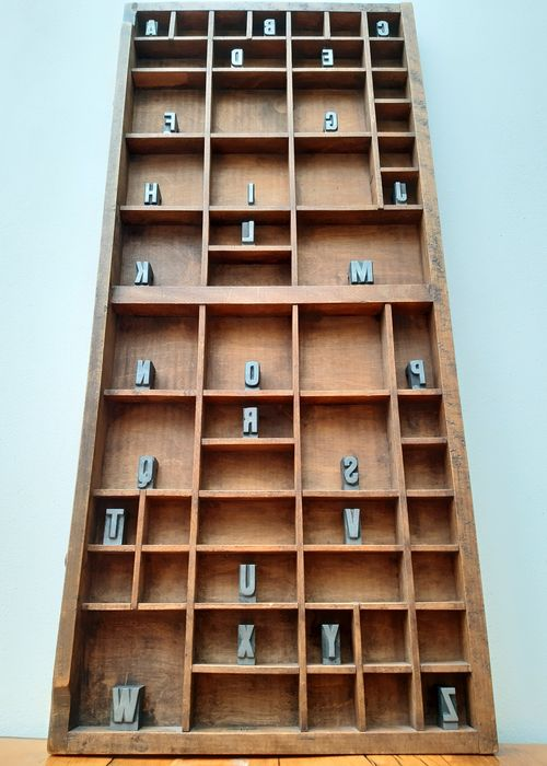 Antique letter tray including 26 block letters ABC
